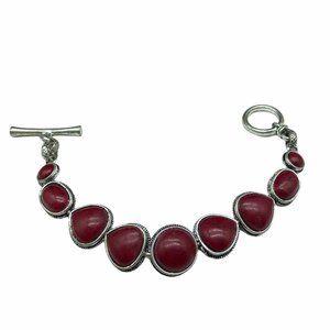Lucky Brand Cranberry Red Cabochon Bracelet